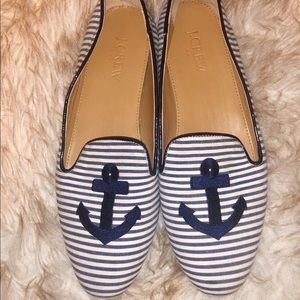 Jcrew navy stripe anchor loafer